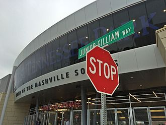Jim Gilliam - A street sign in front of First Tennessee Park in Nashville, Tennessee, honoring Junior Gilliam