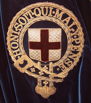 Order of the Garter - Symbol of the Order of the Garter embroidered onto the left shoulder of the blue velvet mantle of a Knight