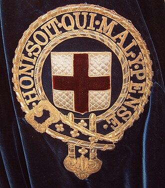 Order of the Garter - Symbol of the Order of the Garter embroidered onto the left shoulder of the blue velvet mantle of a Knight