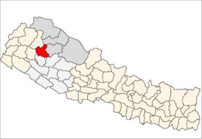 Kalikot District i Karnali Zone (grå) i Mid-Western Development Region (grå + lysegrå)