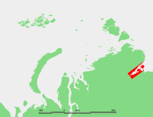 Khatanga Gulf - Map showing the location of the Khatanga Bay.