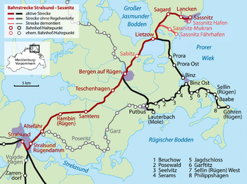 Route of the Stralsund–Sassnitz line