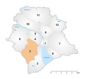Wiedikon - Image: Karte Zürcher Stadtkreis 3
