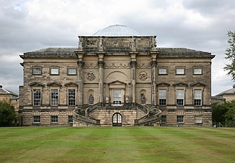 Piano nobile - At 18th-century Kedleston Hall, the piano nobile is placed above a rusticated ground floor, and reached by an external staircase. The uppermost windows indicate that the upper floor is of far lower status.