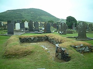 Keeill - Keeill in Maughold churchyard. One of three Keeills in this churchyard.