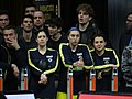 Kelsey Plum, Ayşe Cora and Pelin Bilgiç Fenerbahçe Men's Basketball vs Galatasaray Men's Basketball TSL 20180304.jpg