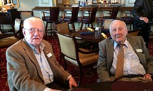 Thomas W. Horton (pilot) - WWII aviators Ken Chilstrom and Tom  Horton at an OBPA luncheon in 2014