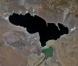 Khyargas Nuur - A satellite image of Lake Khyargas  taken from Landsat-7. Smaller lake south of the Khyargas Lake is Airag Lake.