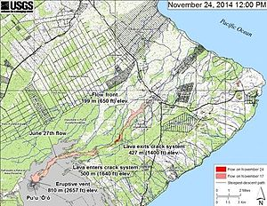 Pahoa, Hawaii - A map showing the flow direction of the June 25th Lava Flow (as of 11/24/14)