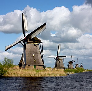 Kinderdijk - View of the windmills at Kinderdijk