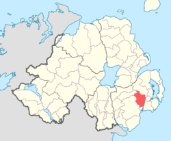 Location of Kinelarty, County Down, Northern Ireland.