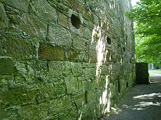 Kinneil House - 16th century Gunloops face the ravine to the West.