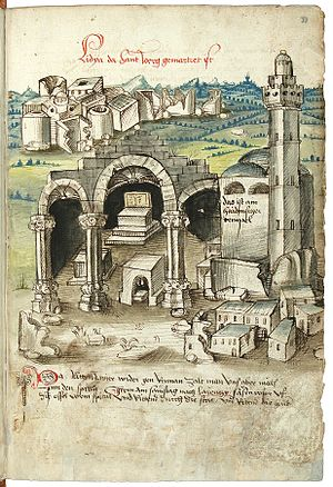 """Conrad Grünenberg - The sanctuary of Saint George in Lydda, with a mosque (labelled as ein haidnischer tempel """"a pagan temple""""; Cod. St. Peter pap. 32 fol. 33r)."""