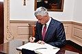 Kosovo President Hashim Thaci signs Secretary Pompeo's guestbook (45340594694).jpg