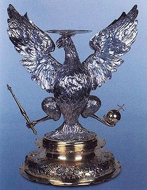 Coat of arms of Poland - A silver heraldic base for King John Casimir's crown, ca. 1666