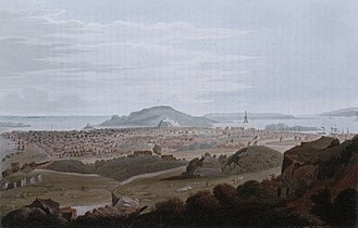 Kristiansand - Kristiansand in summer 1800, painted by J. W. Edy