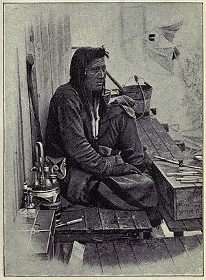 Steamboats of the upper Columbia and Kootenay Rivers - In the East Kootenay region, members of the Ktunaxa First Nation often served as crewmen aboard steamboats.  This man was one of the crew of the first Duchess in 1887