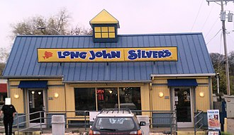 Long John Silver's - A renovated early LJS location that retains Cape Cod style structure