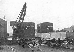 Intermodal freight transport - Transferring freight containers on the London, Midland and Scottish Railway (LMS; 1928)
