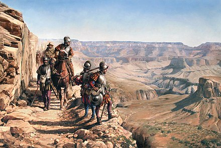 Spanish Conquistadors exploring the Grand Canyon in the 16th Century, nowadays Arizona (United States). Illustration of the Spanish painter Augusto Ferrer-Dalmau La conquista del Colorado.jpg