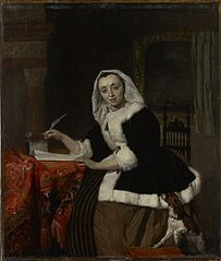 Elegant Lady Writing at Her Desk
