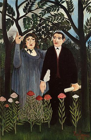 The Cubist Painters, Aesthetic Meditations - Henri Rousseau, The Muse Inspiring the Poet (La muse inspirant le poète), 1909, Kunstmuseum Basel. This work portrays Apollinaire and his muse, Marie Laurencin