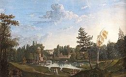 Gouache représentant le hameau de la Reine avec le lac en premier plan.