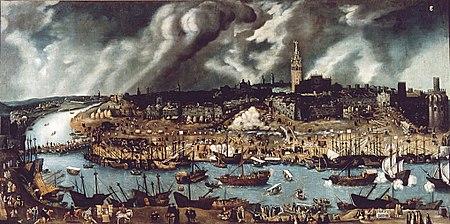 El Puerto de Indias, que en el siglo XVI albergaba un gran número de embarcaciones a lo largo del río Guadalquivir (en la foto la Giralda al fondo, a la izquierda el puente de Triana y a la derecha la Torre del Oro).