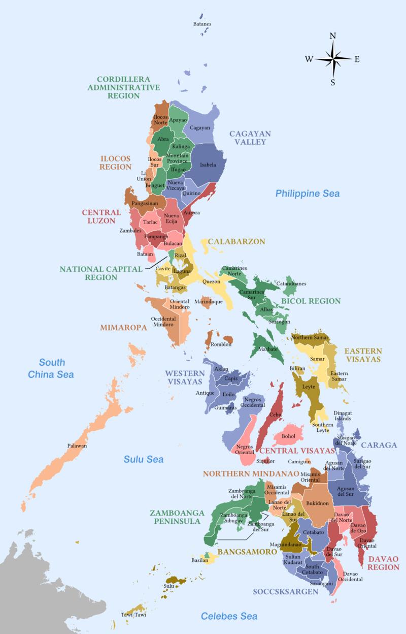 Gelabelde kaart van de Filippijnen - Provincies en regio's.png