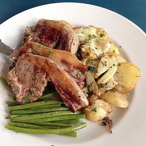 Meat chop - Lamb chops with new potatoes and green beans