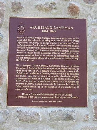 Archibald Lampman - Image: Lampman plaque