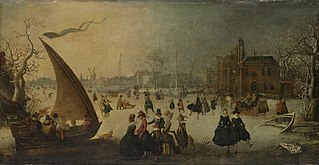 Landscape with frozen canal, skaters and an ice-boat