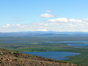 Apavatn - The lakes Laugarvatn and Apavatn from mount Laugarvatnsfjall. In the background Mount Hekla.