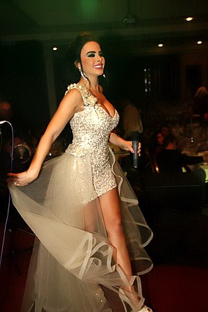 Layal Abboud - Layal Abboud dressed by Akel Fakih, performing for Eid al-Fitr ceremony, Beirut; July 18, 2015.
