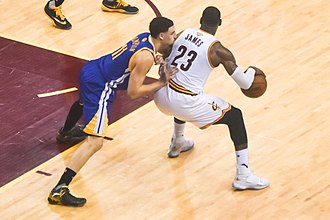 Cavaliers–Warriors rivalry - LeBron James (right) posts up Klay Thompson (left) at the 2016 NBA Finals.
