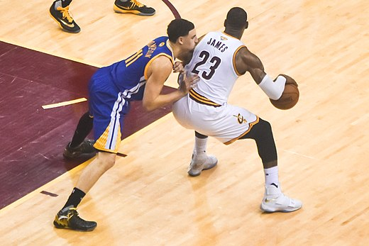 54ff4a46e450 LeBron James (right) posts up Klay Thompson (left) at the 2016 NBA