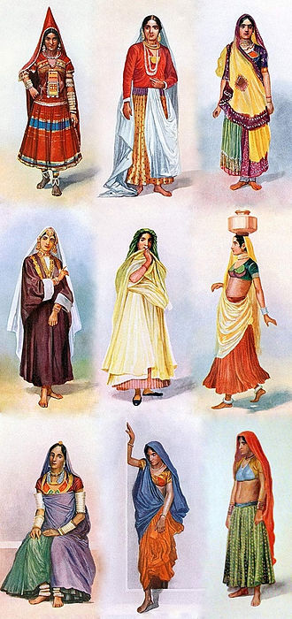 Gagra choli - Illustration of different regional variations of ghagra choli worn by women in India