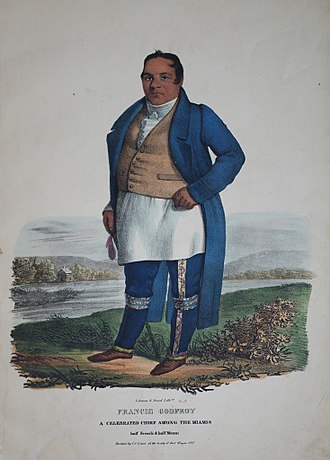 Francis Godfroy - Francis Godfroy, a celebrated Miami chief who was half French and half Miami. Hand-colored lithograph from the Aboriginal Portfolio, painted at the Treaty of Fort Wayne (1827).