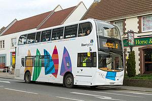 Transport in Jersey - A double-decker bus in St. Brelade, Jersey