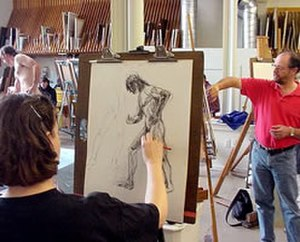 Art school - Life drawing class taught by Jerry Weiss (in red) at the Lyme Academy College of Fine Arts, photograph by Jim Falconer