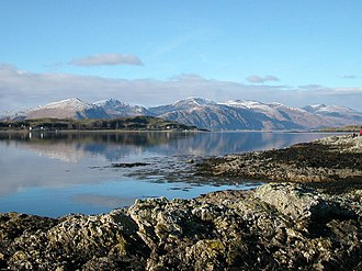 Clan MacLea - The Isle of Lismore and the hills of Kingairloch beyond.