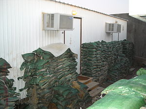 """Balad Air Base - Living quarters for NCOs, SNCOs and officers in the H-6 housing compound on JBB, referred to as """"pods"""", circa Jan 2009"""