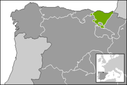 Location of the Basque Country community in Spain.