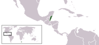 A map showing the location of Belize