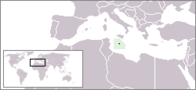 A map showing the location of Malta