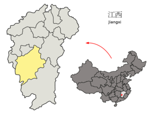 Ji'an County - Location of Ji'an Prefecture (yellow) within Jiangxi Province of China