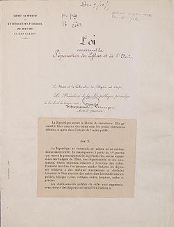 Loi de séparation des églises et de l'État. Page 1 - Archives Nationales - AE-II-2991.jpg