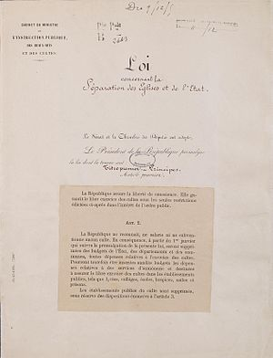 1905 French law on the Separation of the Churches and the State - loi du 9 décembre 1905 concernant la séparation des Églises et de l'État