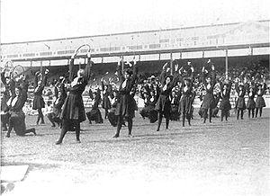 1908 Summer Olympics in London: Display of the British women's gymnastics team