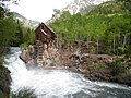 Lost Horse power house (aka the Crystal Mill) in summer, Looking S-SE, Gunnison Co., CO - panoramio.jpg